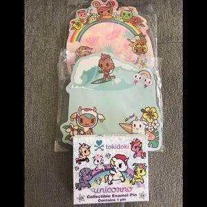 tokidoki Other - Tokidoki unicorno pin and Tokidoki Hawaii notes